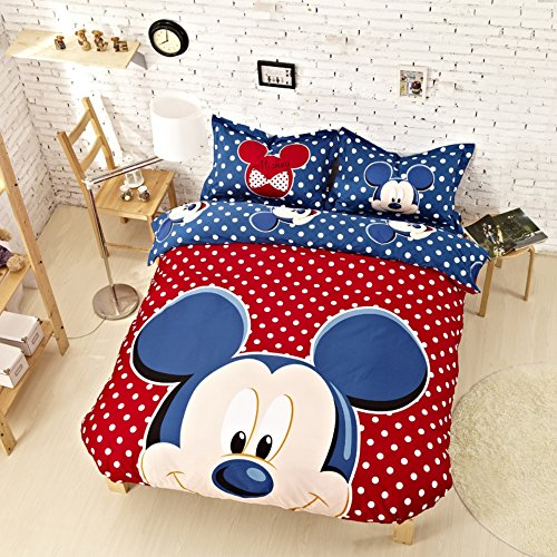 Blue and White Polka Dotted Mickey Mouse Bedding Set