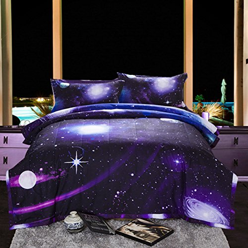 Purple Galaxy 3D Print Comforter Set