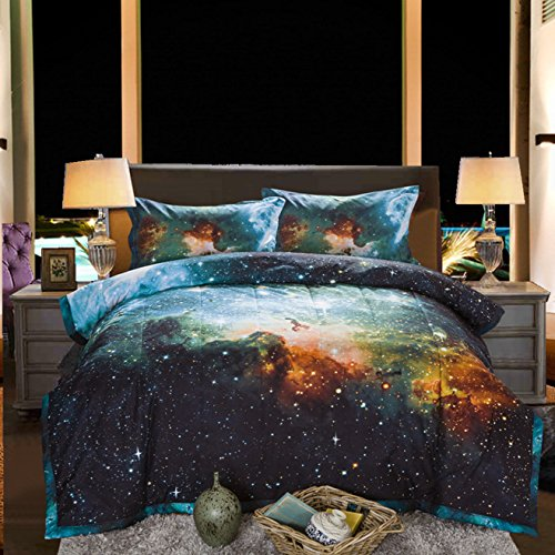 Black and Blue Galaxy Comforter Set