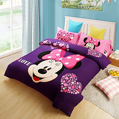 Gorgeous Minnie Mouse Purple Bedding Set. Cutest Mickey Mouse Bedding for Kids and Adults Too