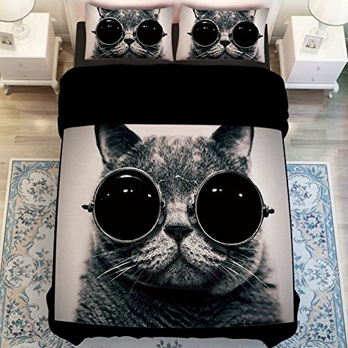 Cat with Glasses Bedding Set