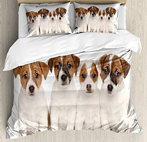 Cute Jack Russell Terrier Puppies duvet cover