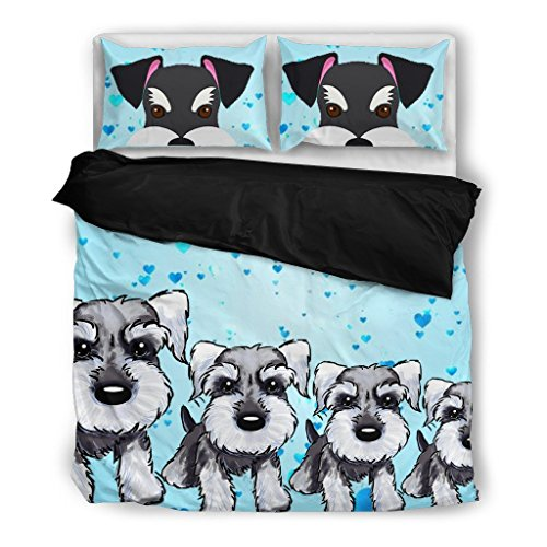 fun Schnauzer Print Bedding Set