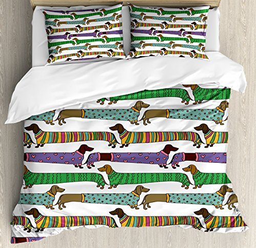 colorful Dachshunds print duvet covers