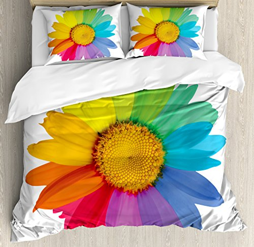 Rainbow Colored Sunflower Bedding