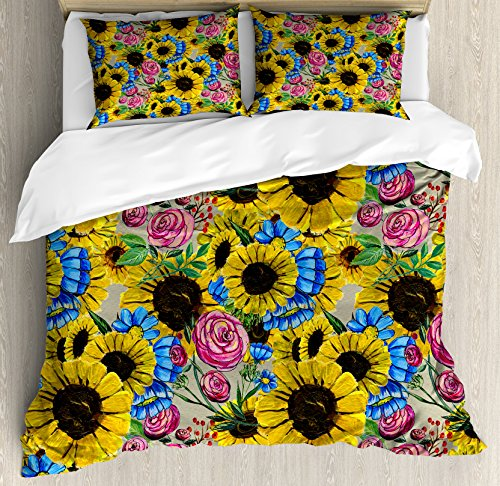 Colorful Sunflowers and PINK Flowers Bedding Set