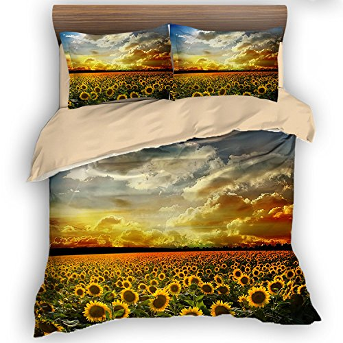 cute sunflower field bedding set
