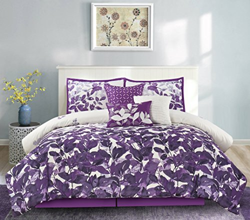 purple leaves design comforter set