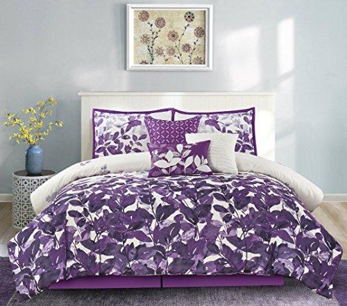 purple leaves design comforter set
