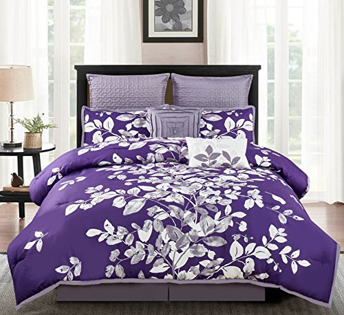 purple Floral Comforter Set