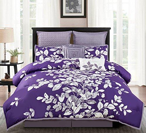 purple Floral Comforter Set