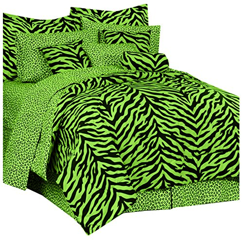 Lime Green Zebra Comforter Set