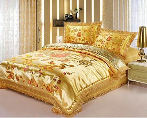 Gold Chinese Dragon Design Satin Bedding Set