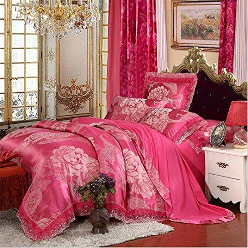 pink roses satin bedding set